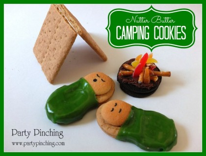 Camping cookies, camping party ideas, cute camp cookies, easy sleepover cookies, slumber party cookies, Nutter Butter campers,