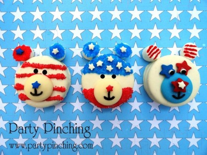 patriotic oreos, bear cookies, memorial day cookies, patriotic bear cookies, red white and blue cookies