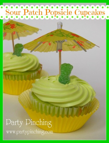 Popsicle flavored cupcakes, lime sour patch kid popsicle cupcake