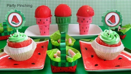 watermelon ideas, watermelon party, watermelon ice cream cones, watermelon treat ideas