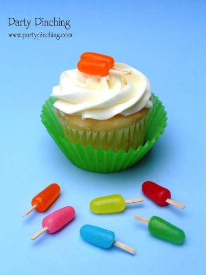 Popsicle Cupcake, popsicle cupcake tutorial, Popsicle Cupcake Toppers, Summer party ideas, Mike and Ike candy