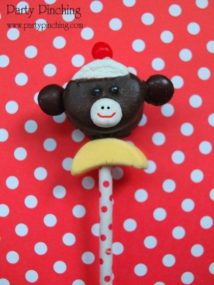 Sock Monkey Marshmallow pop, sock monkey party ideas, sock monkey treat, sock monkey dessert