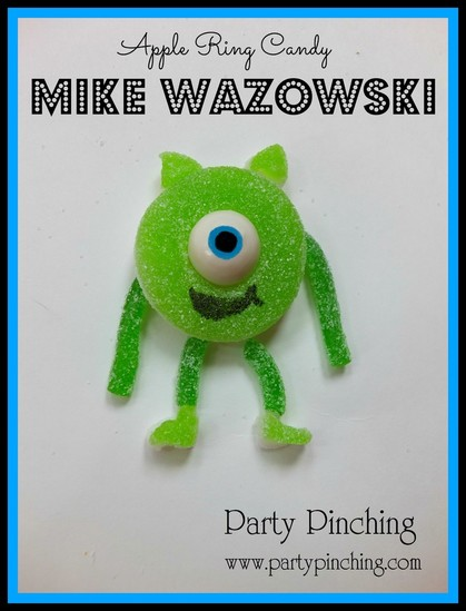 Mike wazowski candy, monsters inc food, monsters inc, mike wazowki apple ring, monsters inc party ideas