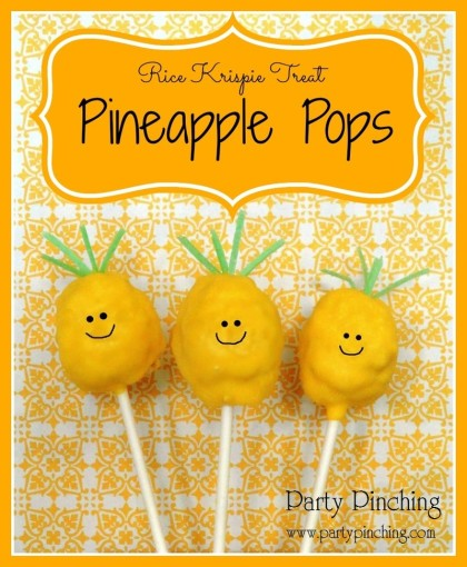 Pineapple pops, tropical pops, luau party ideas, tropical food, rice krispie treat pops, pineapple rice krispie treats, pineapple dessert, cute pineapple