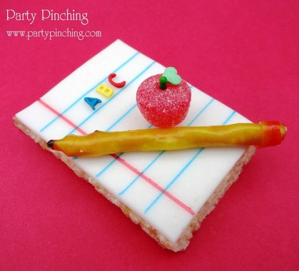 notepad rice krispie treat, back to school treat, after school snack