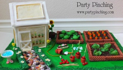 greenhouse cake, cute food, garden cake