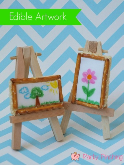 art easel treat, art party ideas, rice krispie treat art, rice krispie treat picture, edible art tutorial, art cookie tutorial