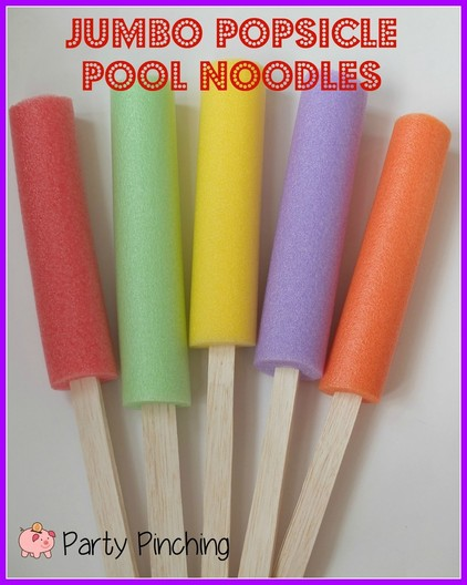 popsicle pool noodle, giant popsicle, popsicle party ideas, popsicle centerpiece, popscile tutorial, popsicle craft