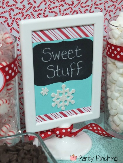 hot chocolate bar, hot chocolate party, hot cocoa bar, hot cocoa party, avery, labels, martha stewart, martha stewart office