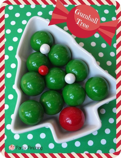gumball tree, easy christmas dessert, easy christmas decorations