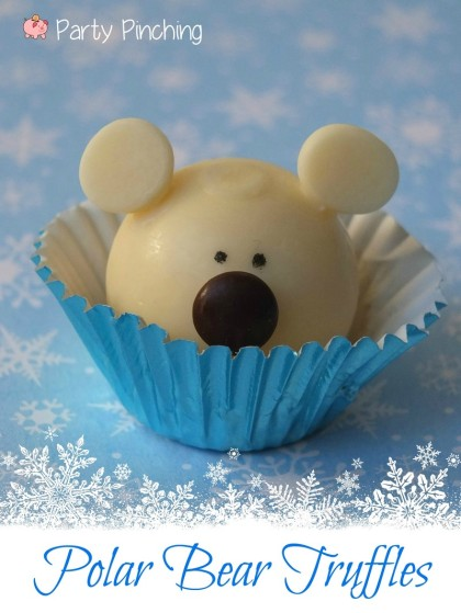 polar bear candy, polar bear party, polar bear cupcake, lindt lindor truffles