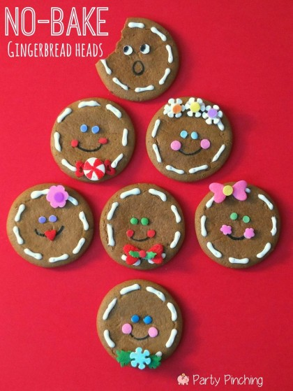 easy no bake gingerbread cookies, gingerbread cookie ideas for kids, christmas party for kids idea, school classroom christmas ideas