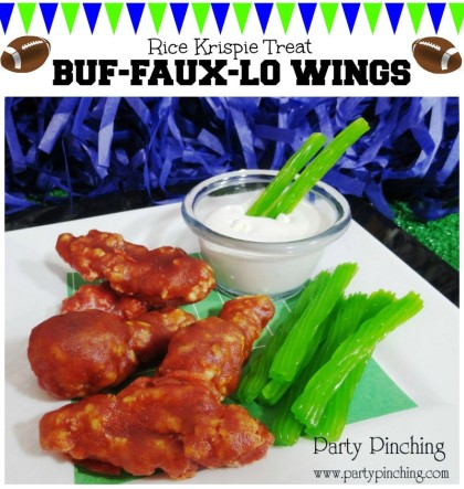 rice krispie treat wings, buffalo wings, april fool's day food, super bowl dessert ideas, super bowl party ideas