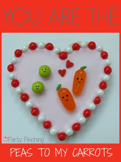 heart cookies, valentine's day cookies, cute valentine's day cookies, valentine's day party ideas, kid's valentine's party ideas, peas and carrots cookies