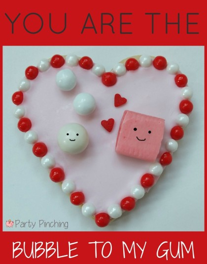 heart cookies, valentine's day cookies, cute valentine's day cookies, valentine's day party ideas, kid's valentine's party ideas, bubble gum cookies
