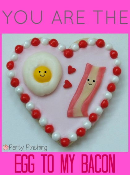 heart cookies, valentine's day cookies, cute valentine's day cookies, valentine's day party ideas, kid's valentine's party ideas, bacon and egg cookies