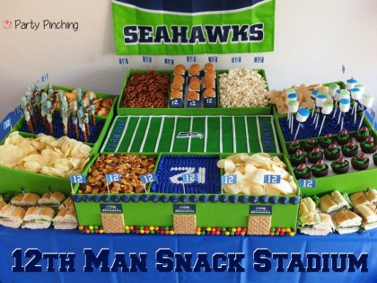 snack stadium, food stadium, food football stadium, super bowl snack stadium, seahawk stadium, football food stadium ideas, seattle seahawks, seahawk party, 12th man