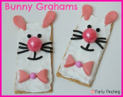 bunny graham crackers, bunny cookies, easy easter cookies, easter ideas for kids, easter dessert easy