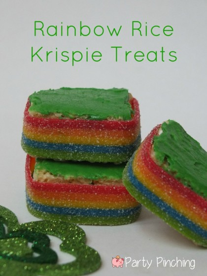 rainbow rice krispie treats, st patrick's day dessert ideas, st. patrick's day treats for kids, st. patrick's day party ideas