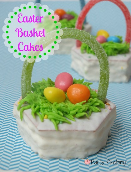 Easy Easter dessert ideas, Little Debbie Easter Cakes, Easter basket cakes, Easter basket cupcakes, Easter party ideas for kids