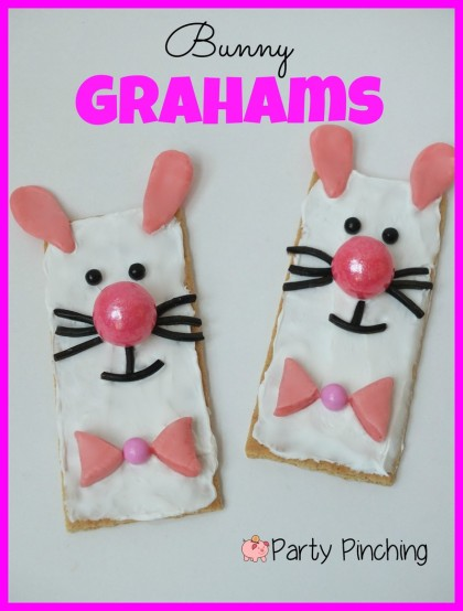 bunny graham cracker, easter dessert for kids, easy easter treat, easter party ideass