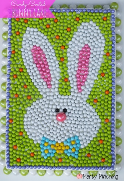bunny cake, easter cake, sixlets candy cake, easter party ideas, easter dessert ideas, easter candy, SweetWorks candy