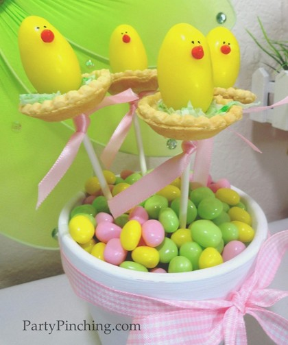 easter dessert ideas, cute easter chicks, easter desserts for kids, easter chicks on a stick