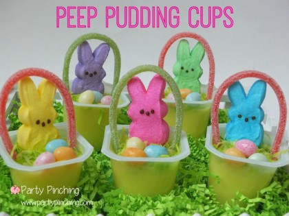 easter bunny dessert, easter pudding cups, Peeps, spring peeps, cute food, cute peeps, easter peeps, bunny peeps, easter party ideas, peep party