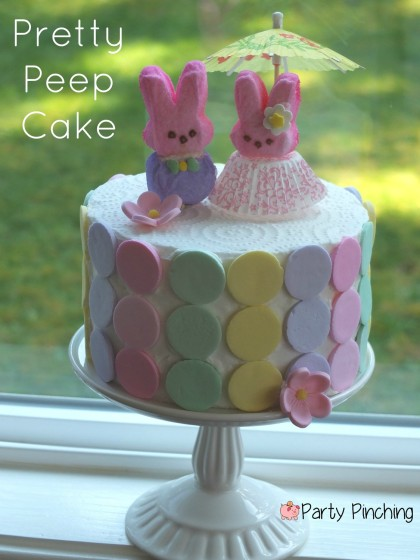 bunny cake, peep cake, easter cake, easter dessert ideas, easter for kids, peeps, necco wafers