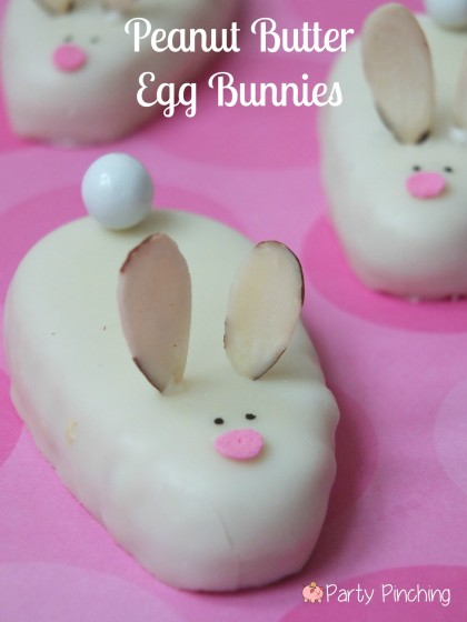 Reese's egg bunnies, Reese's white chocolate eggs, peanut butter bunnies, easy easter dessert ideas, easter treat ideas or kids easter party ideas