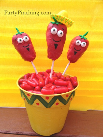 Cinco de mayo ideas, cinco de mayo party, fiesta party ideas, chili pepper rice krispie, cinco de mayo for kids
