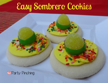 sombrero cookie, cinco de mayo cookies, fiesta cookies, cinco de mayo party ideas, easy cinco de mayo desserts