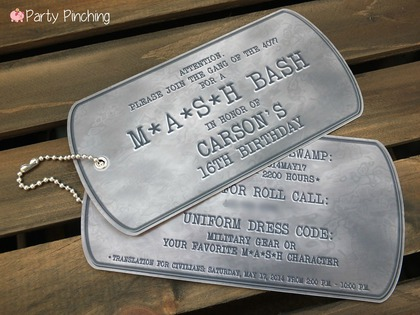 Mash Bash, Mash tv show, Mash television show, Mash theme party, army party, military party ideas, piggy bank parties, dog tag invitations, army invitations