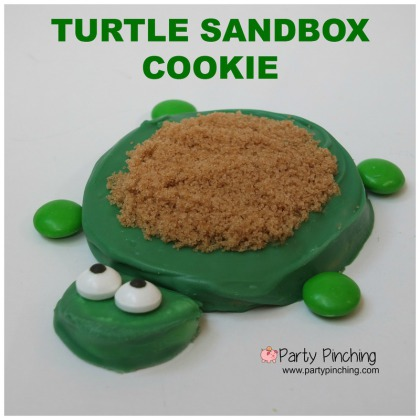 turtle sandbox cookie, summer snack ideas, summer ideas for kids, turtle cookies, little tikes turtle sandbox