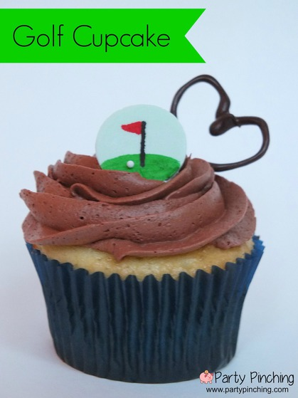 golf cupcake, golf party ideas, father's day cupcake, father's day ideas