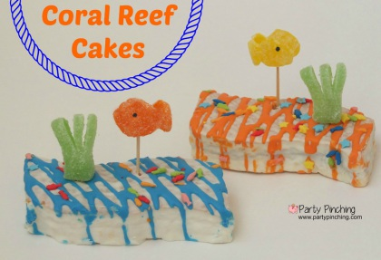 under the sea party ideas, mermaid party snacks, easy summer dessert ideas for kids, little debbie coral reef cakes