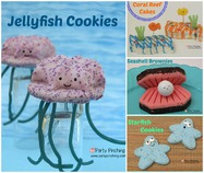 Little Debbie, party pinching, summer snacks, coral reef cakes, starfish cookies, seashell brownies, jellyfish cookies