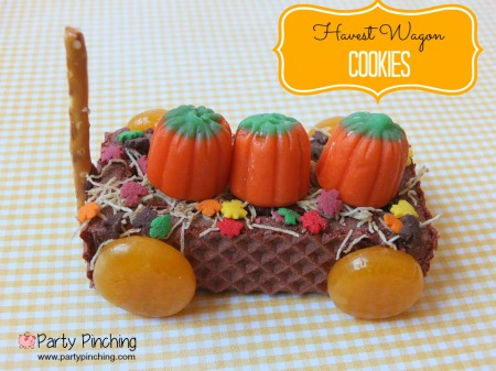 harvest wagon cookies, fall cookies, fall dessert ideas, kids autumn dessert