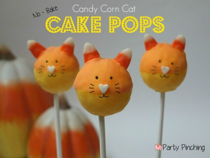 No bake Halloween Candy Corn Cat Cake Pops, easy Halloween dessert ideas, cute halloween treats