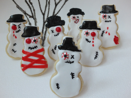 Zombie snowman cookies, zombie snowman, easy Christmas treats, kid friendly Christmas