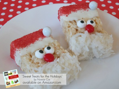 rice krispie treat santa, cute food, easy Christmas treats, kid friendly Christmas