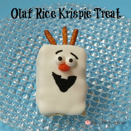 Olaf treat, Frozen theme party ideas, Olaf Rice Krispie Treat