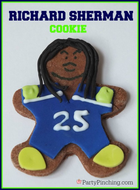 Richard Sherman, Legion of Boom, #LOB, Seattle Seahawks, Seattle Seahawks cookies, football cookies, football party ideas, Super Bowl party ideas, football dessert ideas