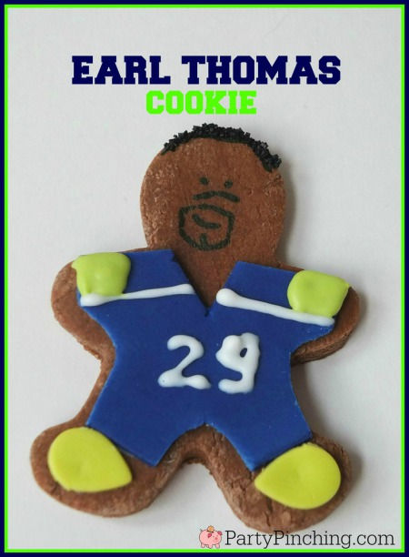 Earl Thomas, Earl Thomas III, Legion of Boom, #LOB, Seattle Seahawks, Seattle Seahawks cookies, football cookies, football party ideas, Super Bowl party ideas, football dessert ideas