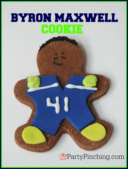 Byron Maxwell, Legion of Boom, #LOB, Seattle Seahawks, Seattle Seahawks cookies, football cookies, football party ideas, Super Bowl party ideas, football dessert ideas