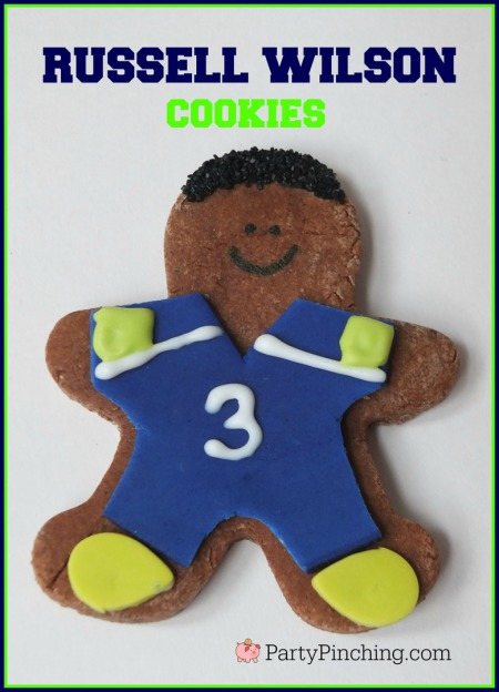 Russell Wilson, Seattle Seahawks, Seattle Seahawks cookies, football cookies, football party ideas, Super Bowl party ideas, football dessert ideas