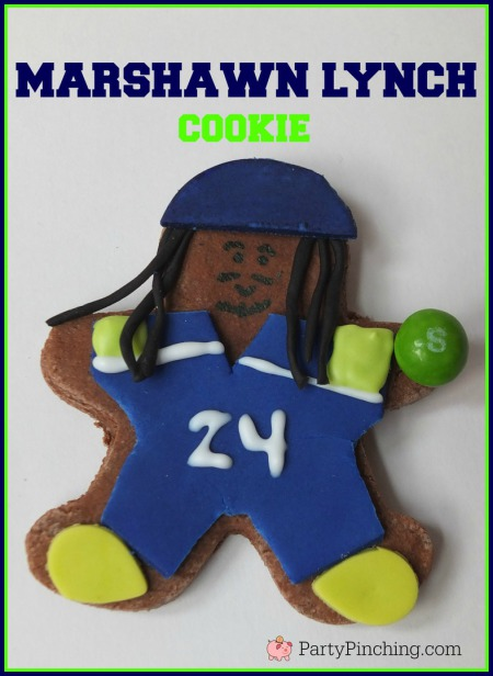 Marshawn Lynch, Seattle Seahawks, Seattle Seahawks cookies, football cookies, football party ideas, Super Bowl party ideas, football dessert ideas