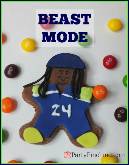 Marshawn Lynch, Beast Mode, Seattle Seahawks, Seattle Seahawks cookies, football cookies, football party ideas, Super Bowl party ideas, football dessert ideas