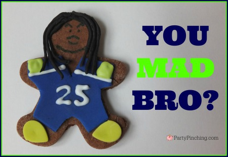Richard Sherman, You Mad Bro?, Legion of Boom, #LOB, Seattle Seahawks, Seattle Seahawks cookies, football cookies, football party ideas, Super Bowl party ideas, football dessert ideas
