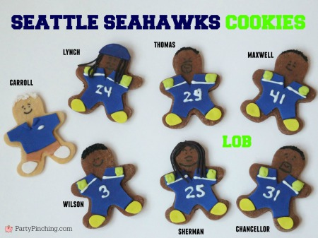 Legion of Boom, #LOB, Seattle Seahawks, Seattle Seahawks cookies, football cookies, football party ideas, Super Bowl party ideas, football dessert ideas